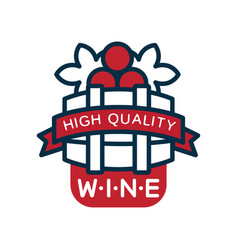 red and blue wine label high quality product logo vector image vector image
