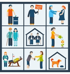Social services icons set vector image vector image