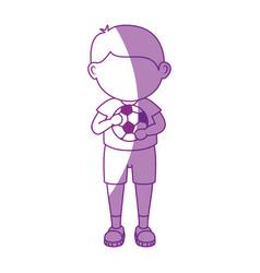 boy with soccer ball cartoon vector image vector image