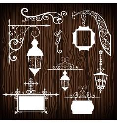 Retro street lanterns on wooden backdrop vector image vector image