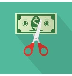Scissors cutting money bill vector image
