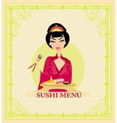 sweet Asian girl enjoy sushi vector image vector image