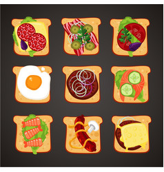 top view of sandwiches with differents topping vector image