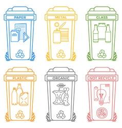 Various colors outline separated garbage bins vector