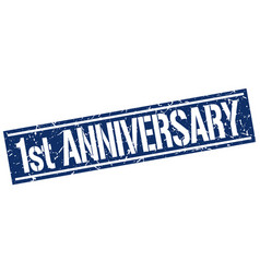 1st anniversary square grunge stamp vector