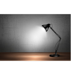 3d desk lamp on wooden table lights up empty wall vector