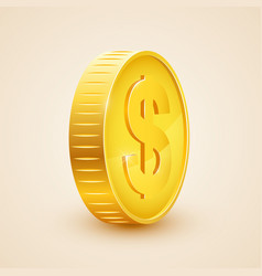 3d realistic gold coin icon us dollar money vector