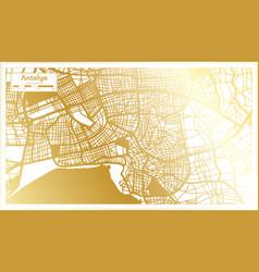 Antalya turkey city map in retro style in golden vector