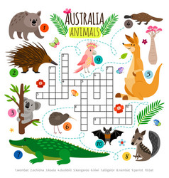 Australian animals crossword kids words vector