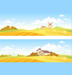 autumn fields banners vector image