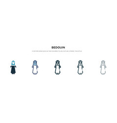 Bedouin icon in different style two colored vector
