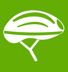 Bicycle helmet icon green vector