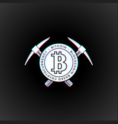Bitcoin currency mining logo sign vector
