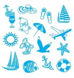 Blue icons symbolizing summer vacation vector image