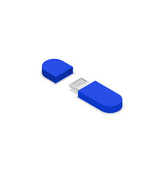 blue usb drive isometric 3d icon vector image