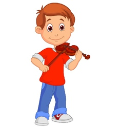 Boy cartoon playing his violin vector image