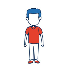 Boy son character person in blue and orange vector