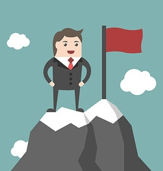 Businessman on mountain summit vector