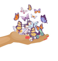 butterflies flying on womans hand beautiful spring vector image