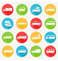 Car flat icon set vector image