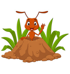 Cartoon ants in ant hill vector