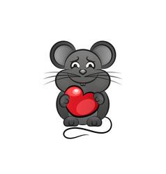 cartoon cute mouse love heart vector image