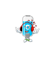 Cartoon design wall hand sanitizer enjoying music vector