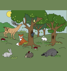 cartoon forest coloring vector image