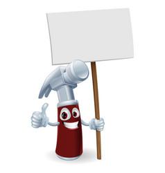 Cartoon hammer with board sign vector