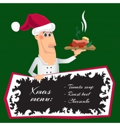 Cartoon santa chef with a dish vector image