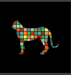 cheetah wildcat color silhouette animal vector image