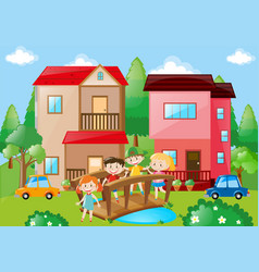 Children crossing bridge in neighborhood vector