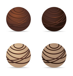 Chocolate nuts ball dark and white set one vector