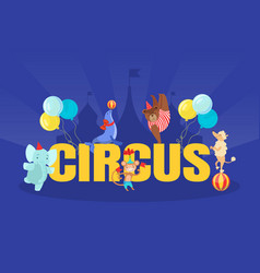 circus banner template with cute funny animals vector image