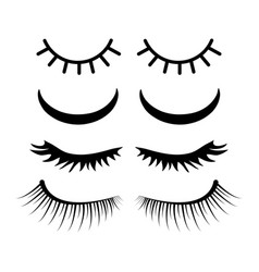 Closed eyes with lashes set design isolated on vector