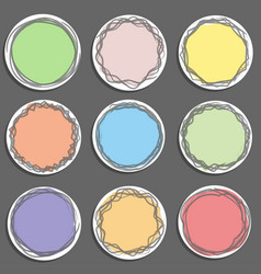 colorful art draw sticker tag label set on gray vector image