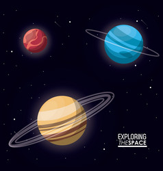colorful poster exploring the space with planets vector image vector image