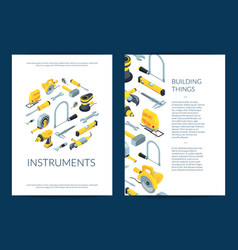 construction tools isometric icons brochure vector image