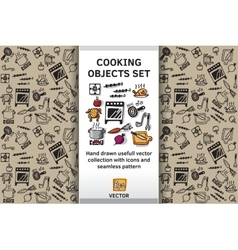 Cooking objects and wallpaper set vector