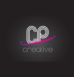 cp c p letter logo with lines design and purple vector image