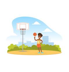 Cute boy playing basketball outdoor kid summer vector