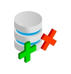 Database with green and red cross icon vector image