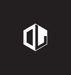 Dl logo monogram hexagon with black background vector