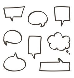 doodle hand drawn speech bubbles set vector image