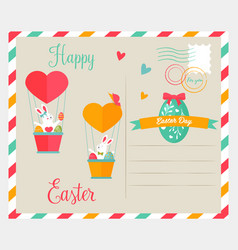 easter bright postcard with funny rabbit vector image