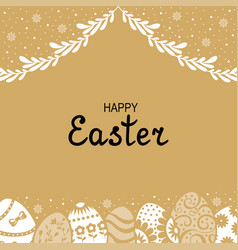 Easter card with decorative eggs and palm branches vector