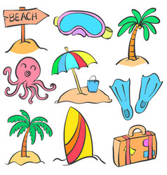 element summer of doodle style vector image