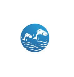 fish logo template creative symbol of fishing vector image