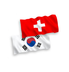 Flags south korea and switzerland on a white vector
