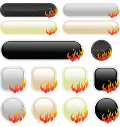 Flame banner elements vector